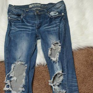 Machine Juniors Distressed Denim Skinny Jeans